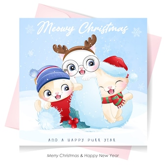 Cute doodle kitty for christmas day with watercolor illustration Premium Vector