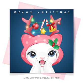 Cute doodle kitty for christmas day with watercolor illustration