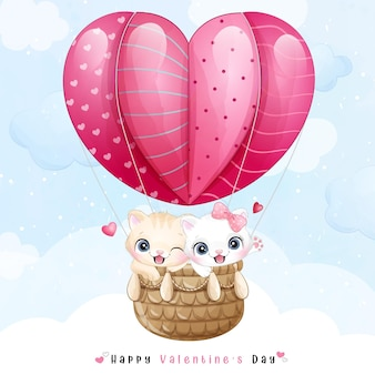 Cute doodle kitty flying with air balloon for valentines day