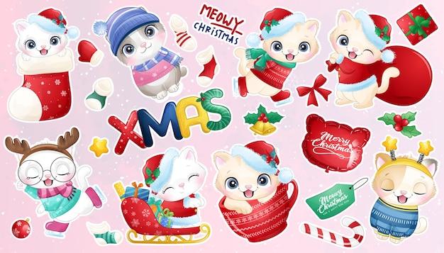 クリスマスの日のステッカーコレクションのためのかわいい落書きキティ