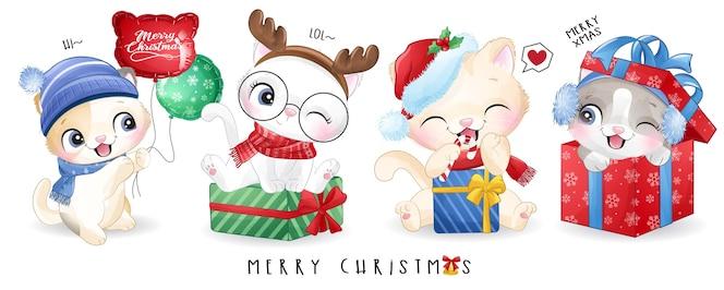 水彩イラストでクリスマスの日にかわいい落書きキティ