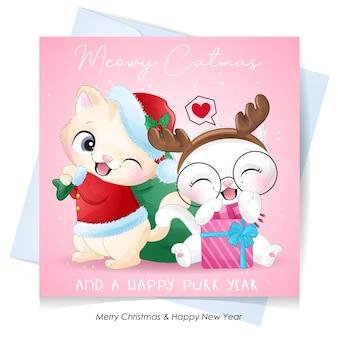 수채화 일러스트와 함께 크리스마스를위한 귀여운 낙서 키티