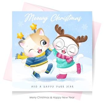 水彩イラストとクリスマスの日のかわいい落書きキティ