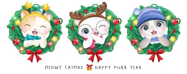 Милый котенок каракули на рождество с акварельной иллюстрацией