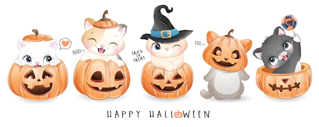 Cute doodle kitty for halloween day with watercolor illustration