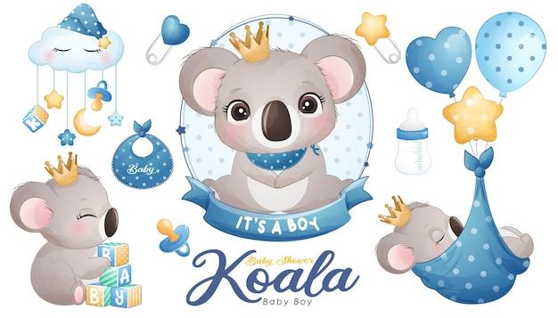 Cute doodle koala baby shower with watercolor illustration set Premium Vector