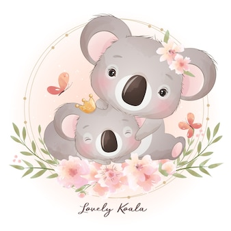 Cute doodle koala bear with floral illustration
