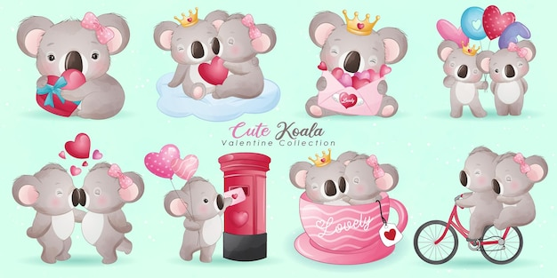 Cute doodle koala bear with poses collection