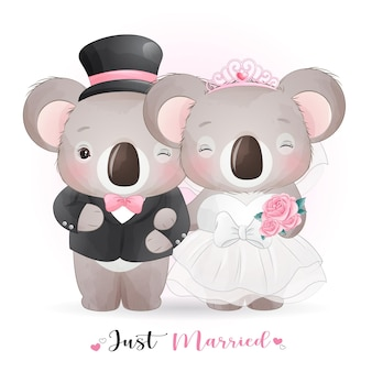 Cute doodle koala bear with wedding clothes,  just married
