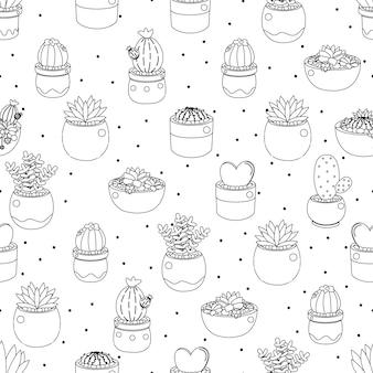 Симпатичные каракули линии искусства кактус и сочные на точке бесшовные модели eps10 векторные иллюстрации Premium векторы