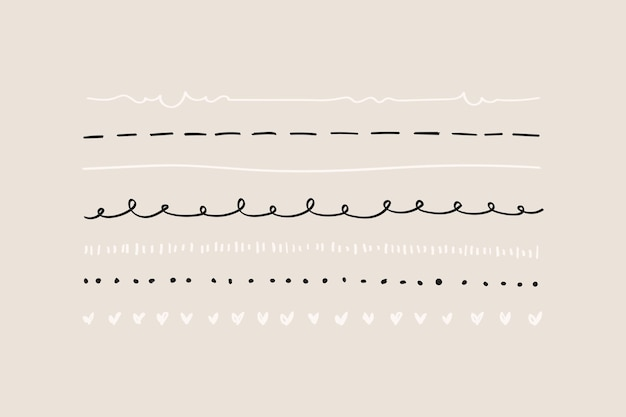 かわいい落書きラインボーダーセット