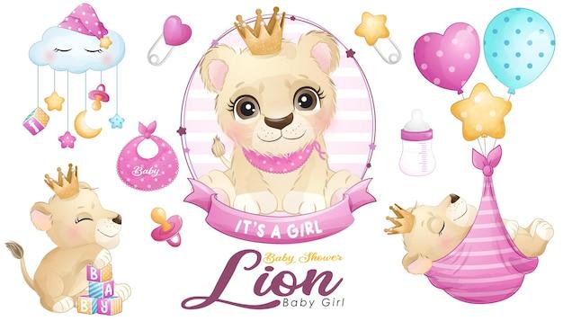 Милый рисунок льва ребенка душ с набором акварельных иллюстраций
