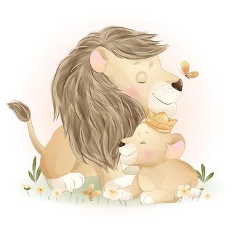 꽃 일러스트와 함께 귀여운 낙서 사자