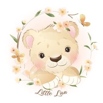 花のイラストとかわいい落書きライオン