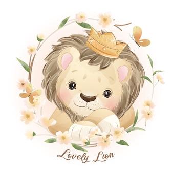 Leone carino doodle con illustrazione floreale