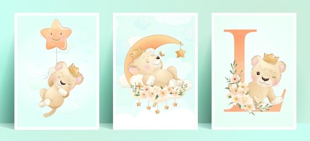 Cute doodle lion with floral set illustration