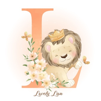 Cute doodle lion with watercolor illustration