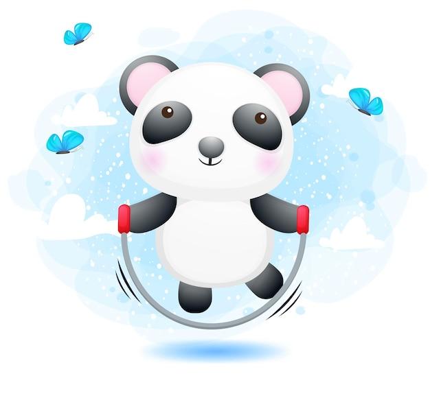 かわいい落書き小さなパンダ縄跳び運動漫画のキャラクター