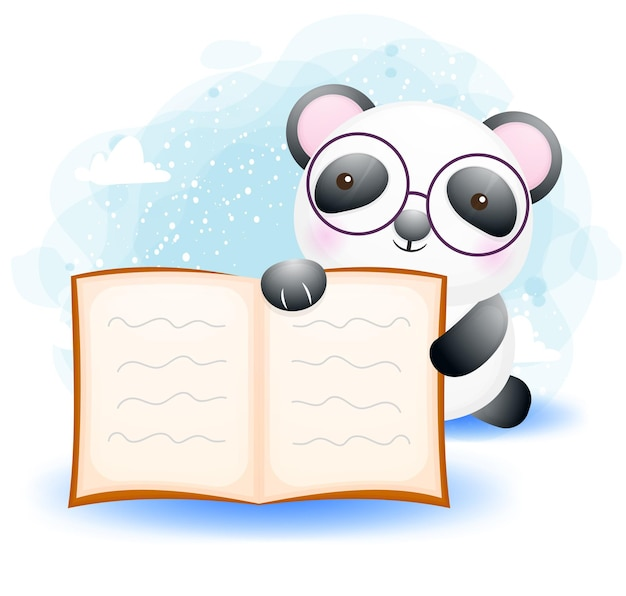 Cute doodle little panda read a book cartoon character