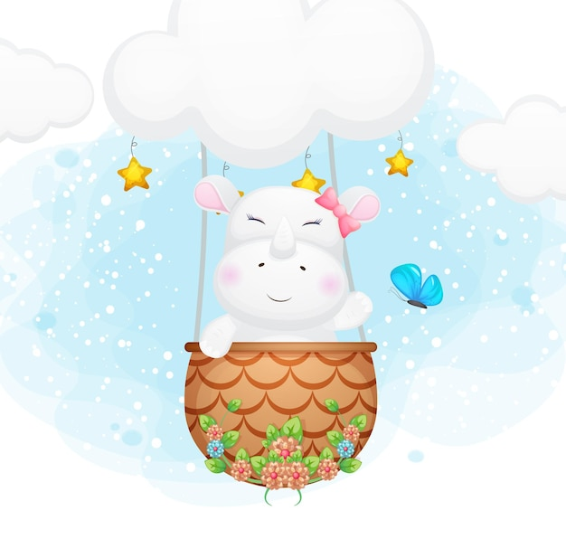 Cute doodle little rhino flying with butterfly in the sky