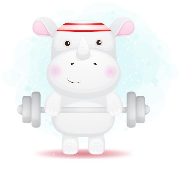 바벨 만화와 함께 운동 귀여운 낙서 작은 코뿔소