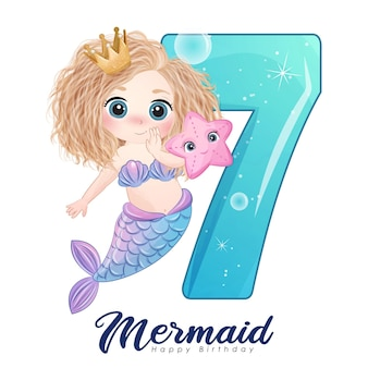 Cute doodle mermaid card with number for birthday party Premium Vector