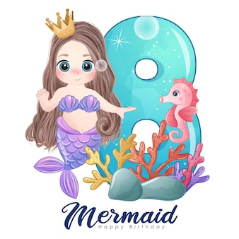 Cute doodle mermaid card with number for birthday party
