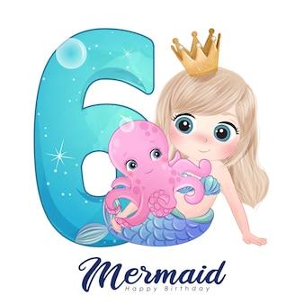 Симпатичная открытка с русалкой каракули с номером для дня рождения