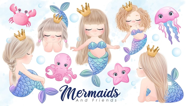 Cute doodle mermaid and friends with watercolor illustration set