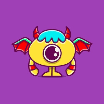 Cute doodle monster cartoon  illustration