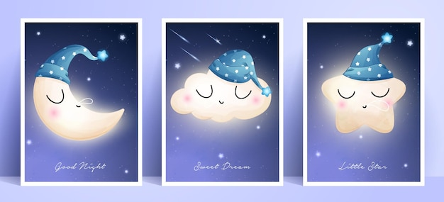 Cute doodle moon, star and cloud with frame collection