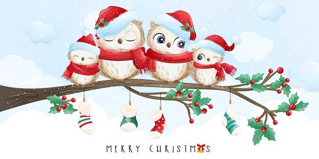 水彩イラストとクリスマスの日のかわいい落書きフクロウ