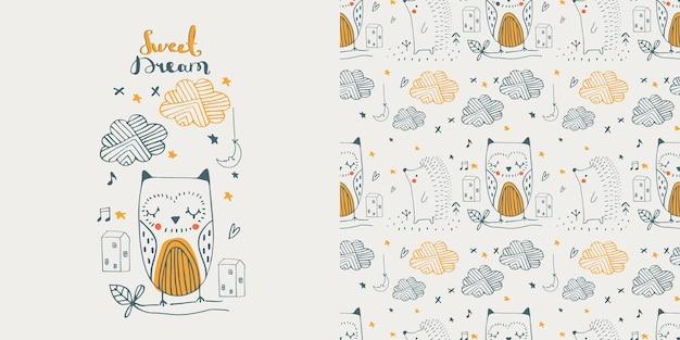 Cute doodle owl  hedgehog seamless pattern cartoon hand drawn vector illustration