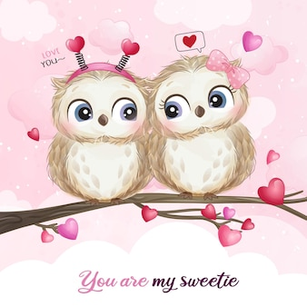 Cute doodle owl for valentine's day illustration