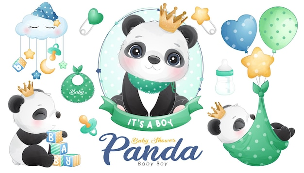Cute doodle panda baby shower with watercolor illustration set