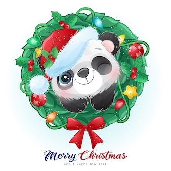 Cute doodle panda for christmas day with watercolor illustration