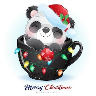 Симпатичная панда каракули на рождество с акварельной иллюстрацией