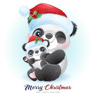 水彩イラストとクリスマスの日のかわいい落書きパンダ