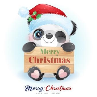 Милая панда каракули на рождество с акварельной иллюстрацией