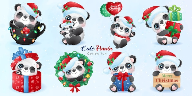 Cute doodle panda set for christmas day with watercolor illustration