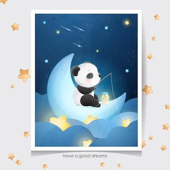水彩イラストとかわいい落書きパンダ