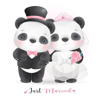 Cute doodle panda with wedding clothes,  just married