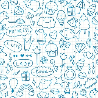 Cute doodle pattern on paper in a cage with girly elements