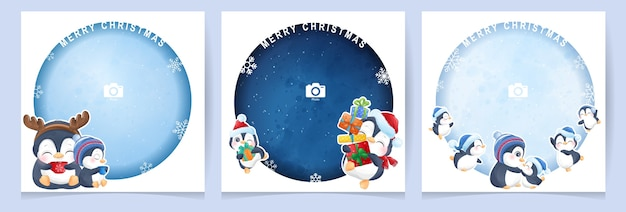 Cute doodle penguin for christmas day with photo frame collection
