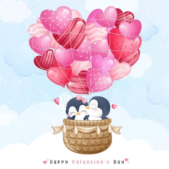 Cute doodle penguin flying with air balloon for valentines day