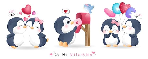 Симпатичный каракули пингвин для коллекции на день святого валентина