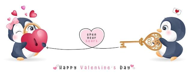 발렌타인 데이 컬렉션 귀여운 낙서 펭귄
