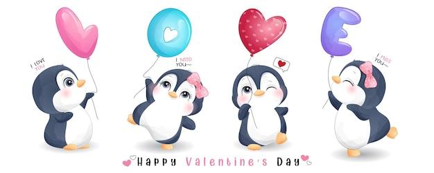 バレンタインデーコレクションのかわいい落書きペンギン