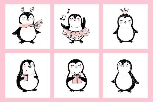 Cute doodle penguin illustrations animals isolated on white naive art