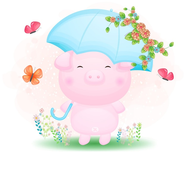 꽃 만화와 함께 우산을 들고 귀여운 낙서 돼지